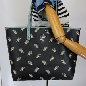 F80235 REVERSIBLE CITY TOTE WITH PARTY OWL PRINT